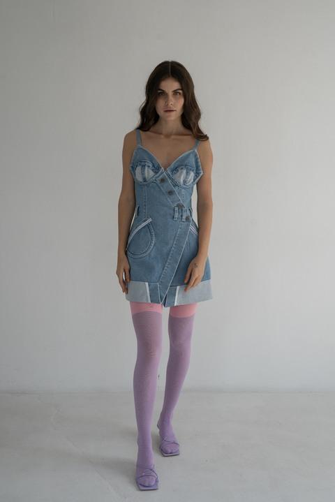 Джинсовое платье бюстье мини голубого цвета