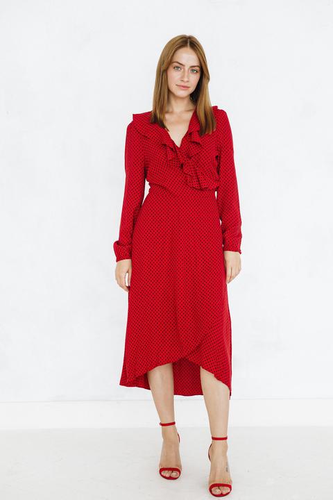 Красное платье миди на запах в черный горох
