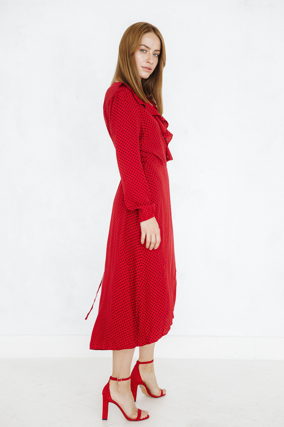 Красное платье миди на запах в черный горох в прокат и аренду в Киеве, Одессе, Харькове. Фото 2