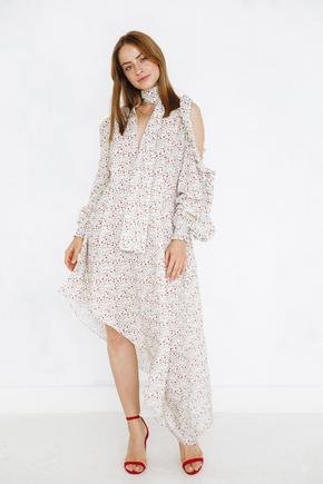 Сукня міді в квітковий принт з бантом і драпіровками на рукавах в прокат и oренду в Киiвi. Фото 2