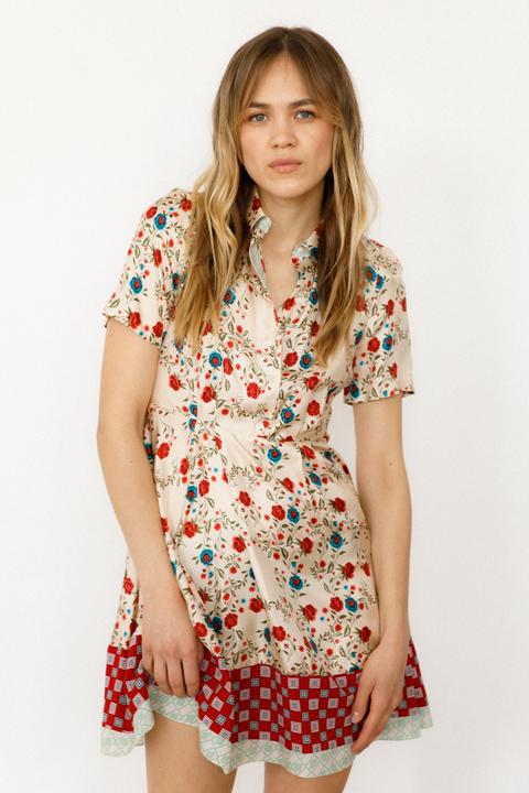 Шелковое платье-мини с открытой спиной и цветочным принтом