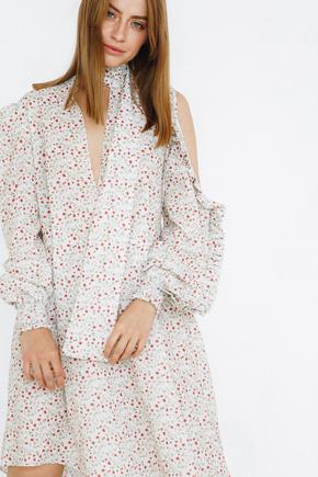 Сукня міді в квітковий принт з бантом і драпіровками на рукавах в прокат и oренду в Киiвi. Фото 1