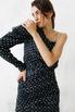 Шелковое платье мини в горошек с одним рукавом в прокат и аренду в Киеве. Фото 5