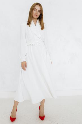 Біле плаття міді з поясом і коміром в прокат и oренду в Киiвi. Фото 1