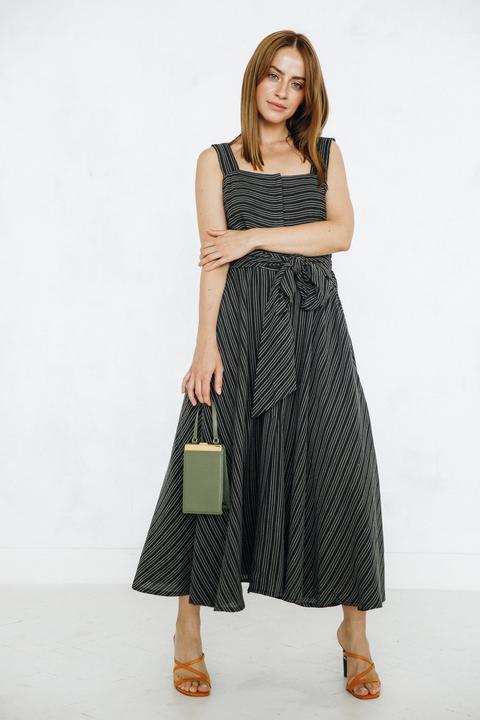 Платье длины миди на запах в полоску цвета хаки