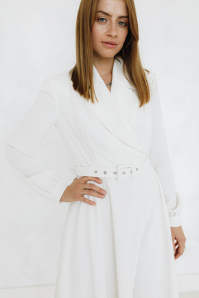 Біле плаття міді з поясом і коміром в прокат и oренду в Киiвi. Фото 2