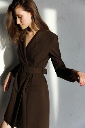 Коричневе плаття-жакет з поясом і довгим рукавом в прокат и oренду в Киiвi. Фото 2