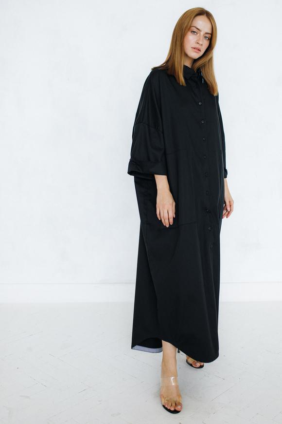 Платье рубашка черного цвета свободного кроя в прокат и аренду в Киеве. Фото 1