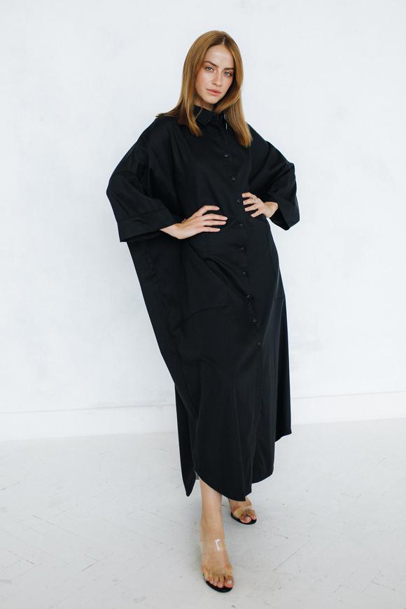 Платье рубашка черного цвета свободного кроя в прокат и аренду в Киеве. Фото 2