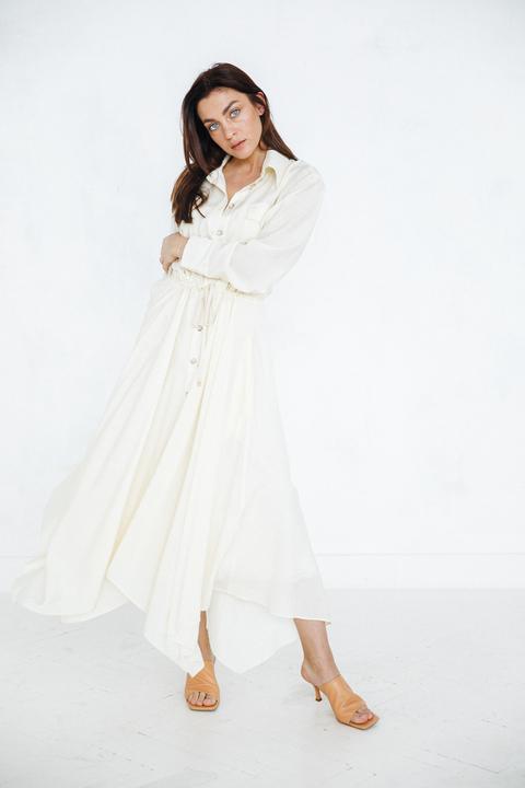 Шелковое платье-рубашка свободного кроя лимонного цвета
