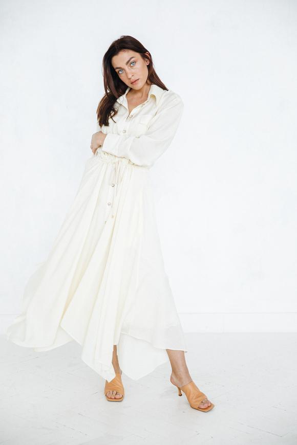 Шелковое платье-рубашка свободного кроя лимонного цвета в прокат и аренду в Киеве. Фото 1