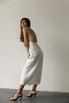Белое платье миди на запах из льна в прокат и аренду в Киеве, Одессе, Харькове. Фото 3