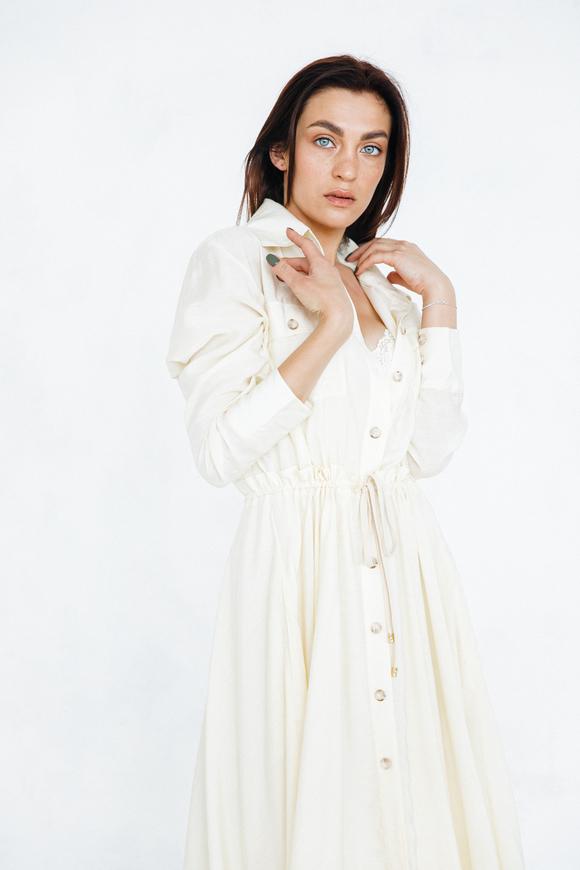 Шелковое платье-рубашка свободного кроя лимонного цвета в прокат и аренду в Киеве. Фото 2