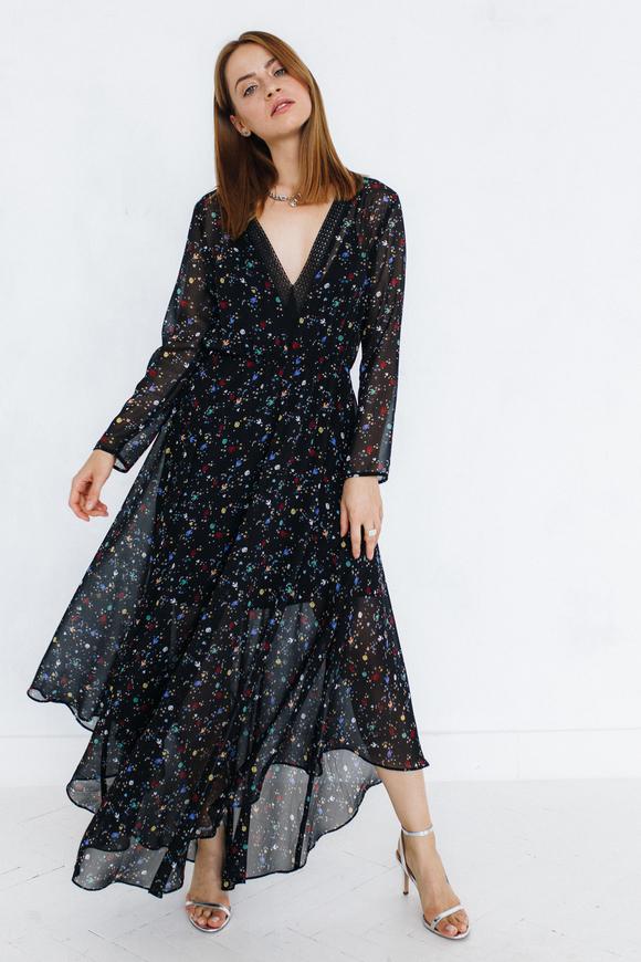 Платье длины миди с цветочным принтом черного цвета с рукавом в прокат и аренду в Киеве. Фото 2