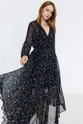 Сукня довжини міді з квітковим принтом чорного кольору з рукавом в прокат и oренду в Киiвi. Фото 1