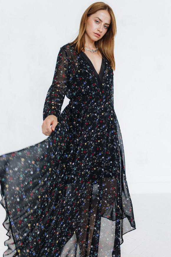 Платье длины миди с цветочным принтом черного цвета с рукавом в прокат и аренду в Киеве. Фото 1