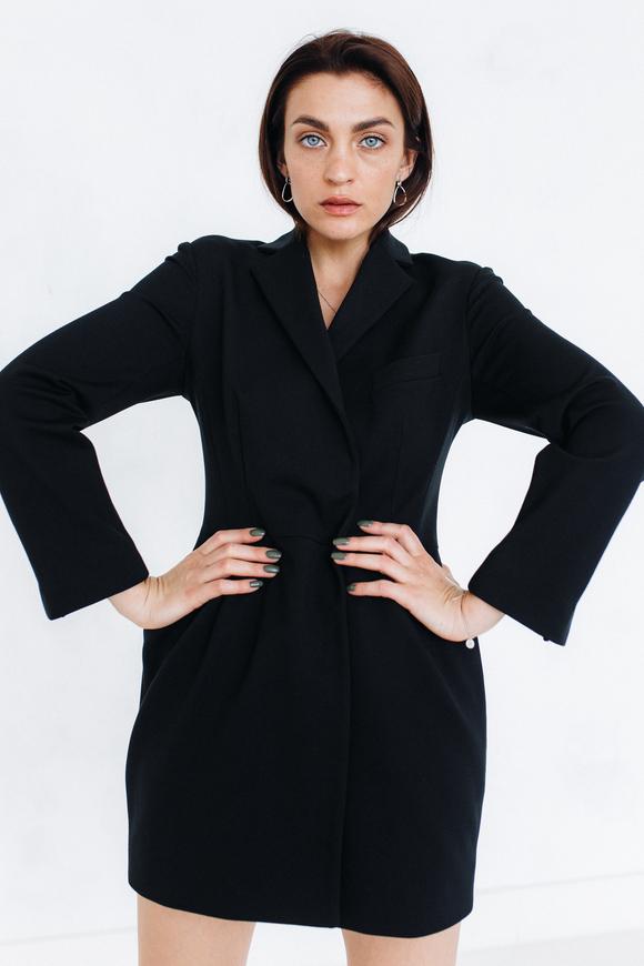 Черное платье-пиджак мини с отрезной талией в прокат и аренду в Киеве. Фото 1