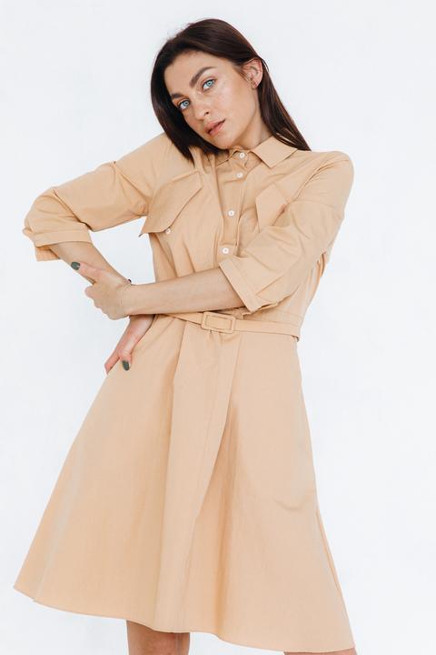Платье-рубашка длины миди песочного цвета