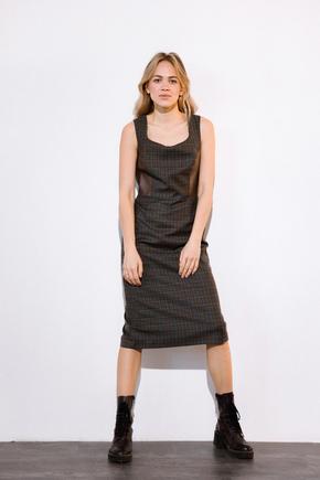 Платье из шерсти с вставками из эко-кожи коричневого цвета в прокат и аренду в Киеве. Фото 1