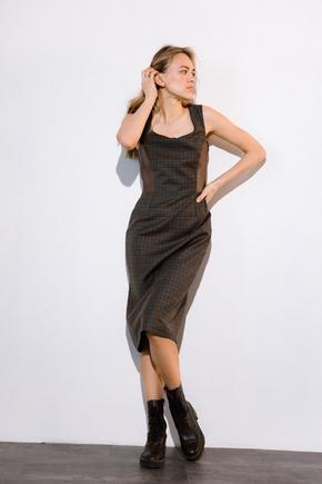 Платье из шерсти с вставками из эко-кожи коричневого цвета в прокат и аренду в Киеве. Фото 2