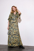 Платье длины миди  с принтом зебра зеленого цвета в прокат и аренду в Киеве. Фото 3