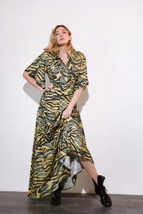 Платье длины миди  с принтом зебра зеленого цвета в прокат и аренду в Киеве. Фото 2