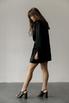 Черное шелковое платье мини с длинным рукавом и глубоким декольте в прокат и аренду в Киеве. Фото 3