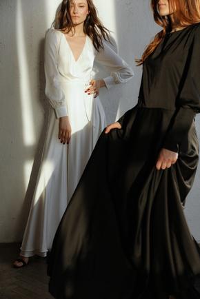 Молочне плаття максі з рукавом і довгим підкладом в прокат и oренду в Киiвi. Фото 2