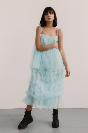 Напівпрозоре блакитне плаття з об'ємними аплікаціями в прокат и oренду в Киiвi. Фото 2