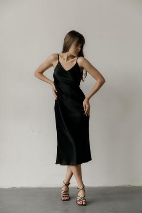 Чорна сукня комбінація довжини міді з щільного шовку в прокат и oренду в Киiвi. Фото 1