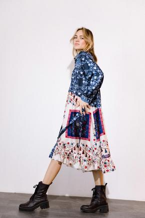 Платье-рубашка свободного кроя с разноцветным принтом в прокат и аренду в Киеве. Фото 2
