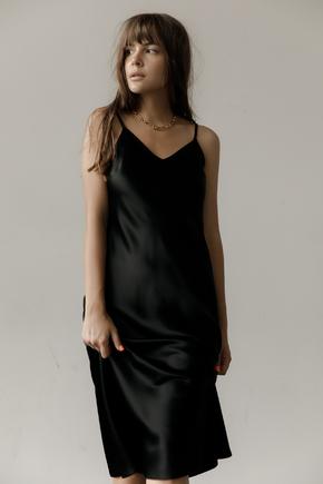 Чорна сукня комбінація довжини міді з щільного шовку в прокат и oренду в Киiвi. Фото 2