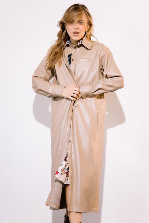 Платье-тренч из экокожи