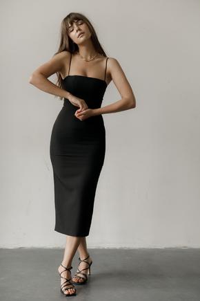Трикотажне плаття-бюстьє міді чорного кольору в прокат и oренду в Киiвi. Фото 2