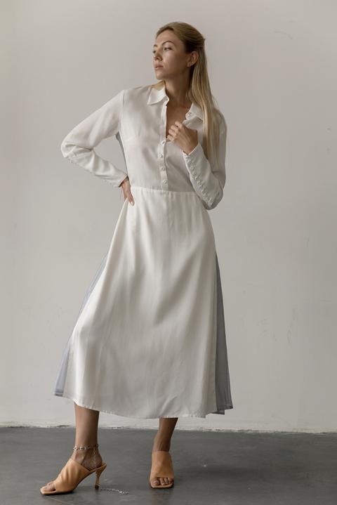 Белое платье миди с контрастными вставками из органзы