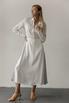 Белое платье миди с контрастными вставками из органзы в прокат и аренду в Киеве, Одессе, Харькове. Фото 1