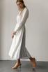 Белое платье миди с контрастными вставками из органзы в прокат и аренду в Киеве, Одессе, Харькове. Фото 3