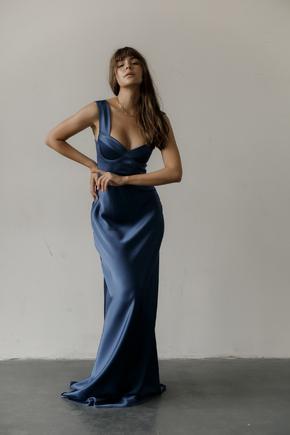 Вечірня сукня-бюстьє в підлогу з шовку синього кольору в прокат и oренду в Киiвi. Фото 2