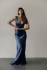 Вечернее платье-бюстье в пол из шелка синего цвета в прокат и аренду в Киеве. Фото 2