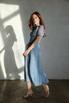 Голубое платье миди в горошек из шелка-органзы в прокат и аренду в Киеве. Фото 1