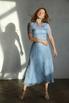 Голубое платье миди в горошек из шелка-органзы в прокат и аренду в Киеве. Фото 2