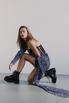 Черное платье-корсет длины мини c лиловым принтом в прокат и аренду в Киеве. Фото 2