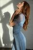 Голубое платье миди в горошек из шелка-органзы в прокат и аренду в Киеве. Фото 5