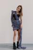 Черное платье-корсет длины мини c лиловым принтом в прокат и аренду в Киеве. Фото 1