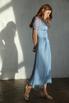 Голубое платье миди в горошек из шелка-органзы в прокат и аренду в Киеве. Фото 3