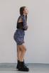 Черное платье-корсет длины мини c лиловым принтом в прокат и аренду в Киеве. Фото 3