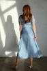 Голубое платье миди в горошек из шелка-органзы в прокат и аренду в Киеве. Фото 4