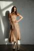 Платье миди из шелка-органзы бежевое в горошек в прокат и аренду в Киеве. Фото 1