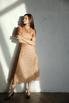 Платье миди из шелка-органзы бежевое в горошек в прокат и аренду в Киеве. Фото 5