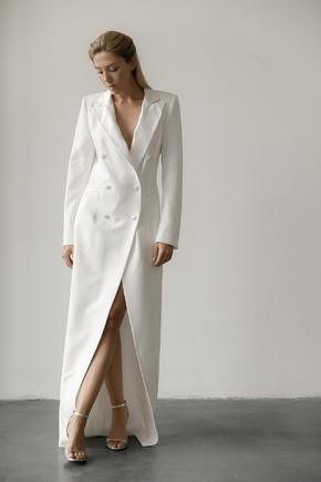 Довге вечірнє плаття-фрак білого кольору в прокат и аренду в Киеве. Фото 2